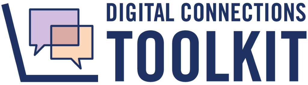 Digital Connections Toolkit - A laptop opening to show conversation bubbles